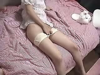 Japanese girl plays with her..