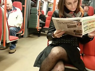 Pantyhose leg in metro