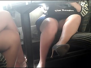 Spycam Skirt and heels in..