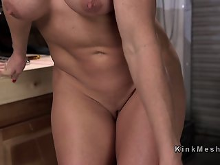Oiled blonde takes fucking..