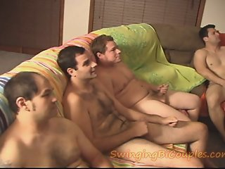 5 BI GUYS and 1 CUM eating..